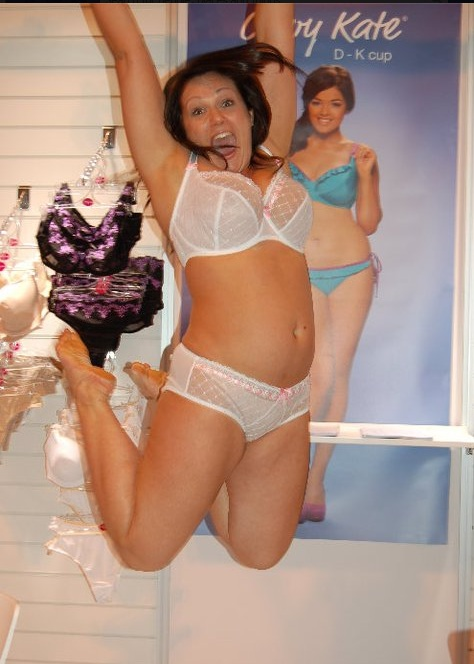 Lizzie in Curvy Kate Portia White Pink at Trade Show