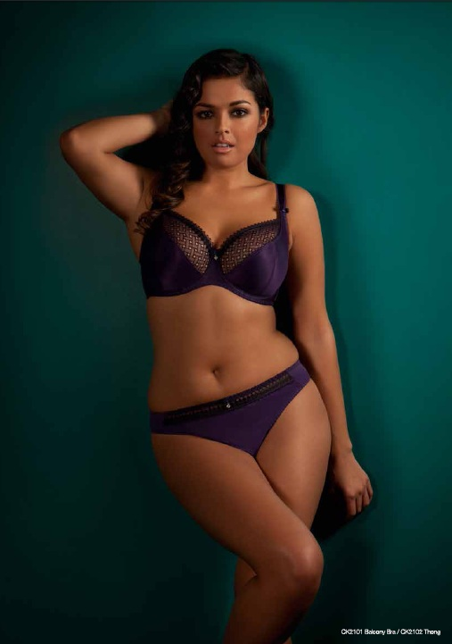 Curvy Kate Gia Plum Black Bra and Thong